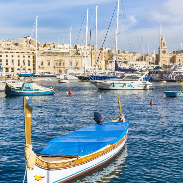 """Vittoriosa waterfront marina and water taxi (Dghajsa), Dockyard Creek, Birgu..."" stock image"