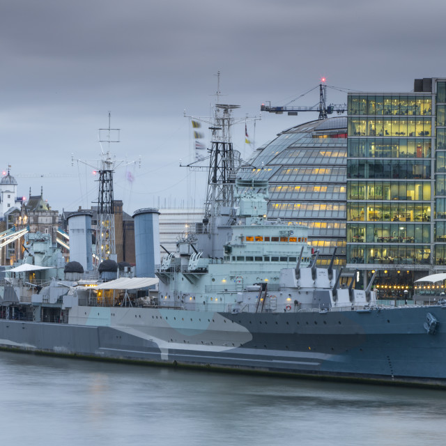 """HMS Belfast and City Hall"" stock image"