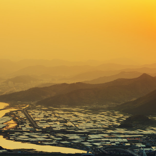 """Sunset over city, Busan, South Korea, Asia"" stock image"