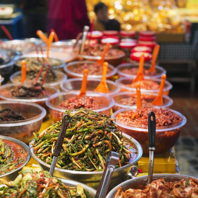 """Kimchi pickled vegetables, Dongmun traditional market, Jeju Island, South..."" stock image"