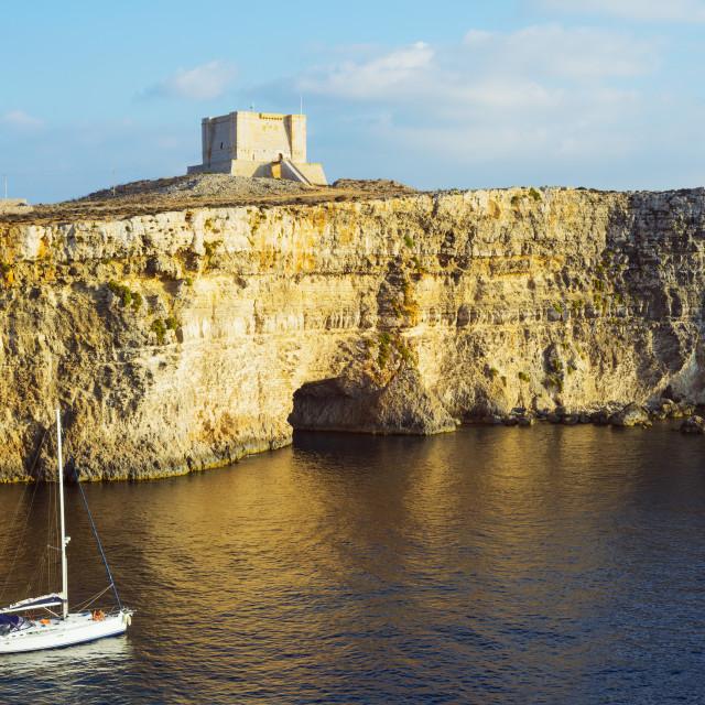 """Cliff top watch tower, Comino island, Malta, Mediterranean, Europe"" stock image"