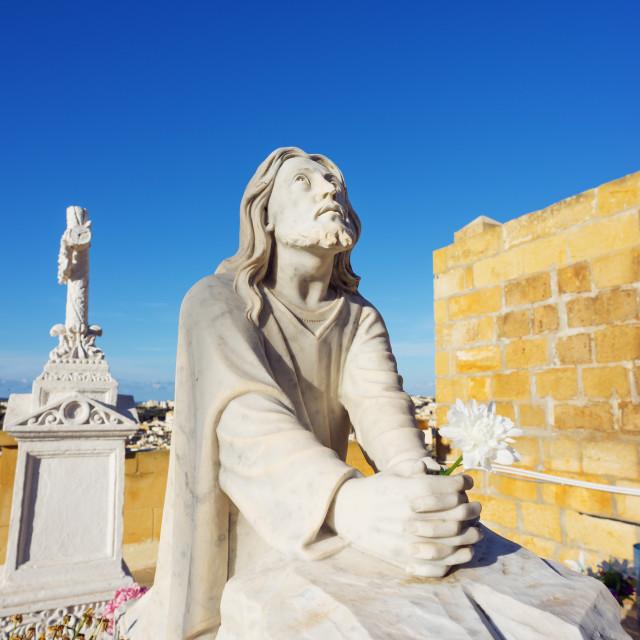 """""""Cemetery head stone statue, Victoria (Rabat), Gozo Island, Malta,..."""" stock image"""