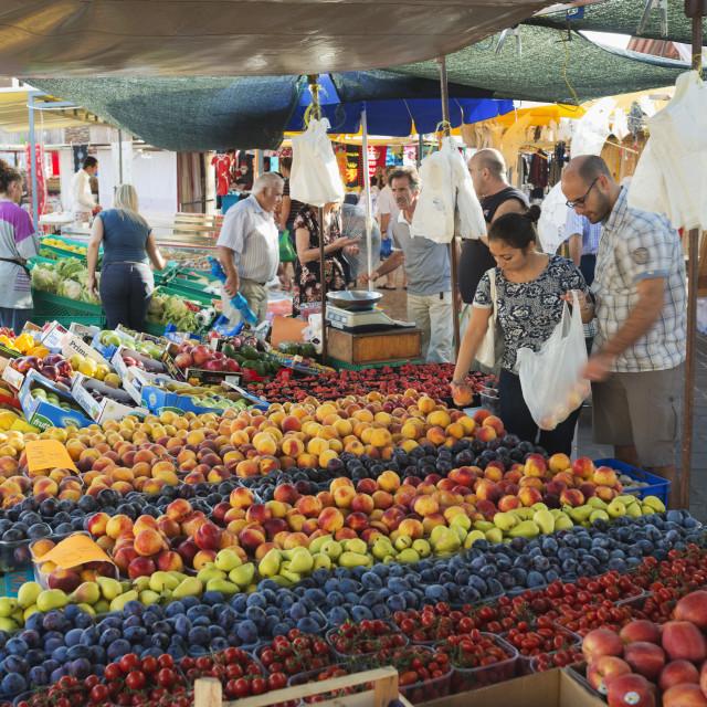 """Sunday market, Marsaxlokk harbour, Malta, Europe"" stock image"