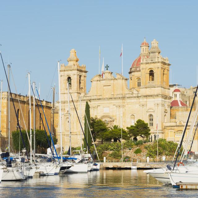 """Parish Church of St..Lawrence, Grand Harbour Marina, Vittoriosa (Birgu), The..."" stock image"