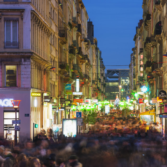 """Busy city center crowds, Fete des Lumieres (Festival of Lights), Lyon,..."" stock image"