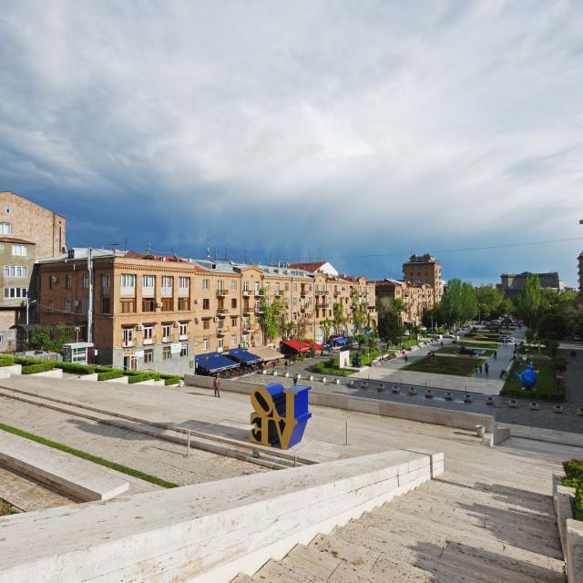 """""""Eurasia, Caucasus region, Armenia, Yerevan, art exhibitions at the Cascade"""" stock image"""