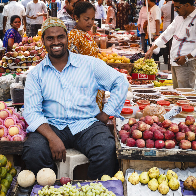 """Fruit and vegetable stalls at Mapusa Market, Goa, India, Asia"" stock image"