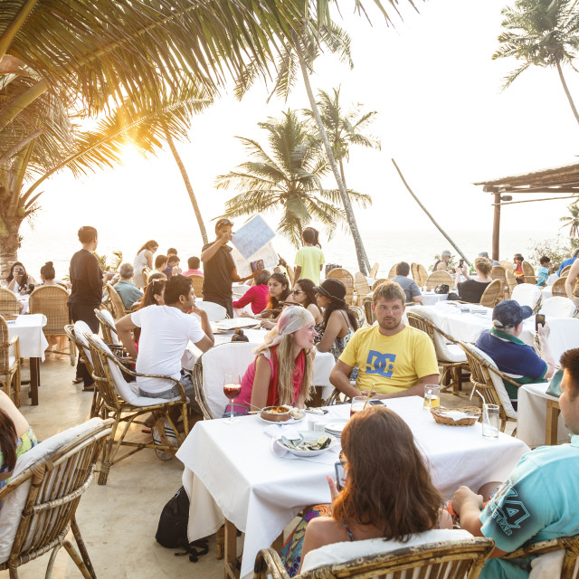 """Thalassa restaurant, Vagator, Goa, India, Asia"" stock image"
