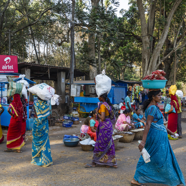 """Street scene, Old Goa, India, Asia"" stock image"