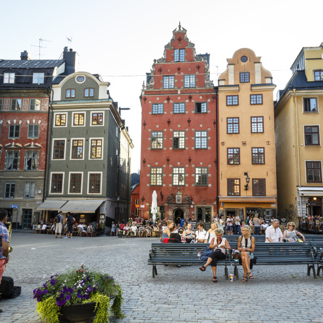 """People sitting at Stortorget square in Gamla Stan, Stockholm, Sweden,..."" stock image"