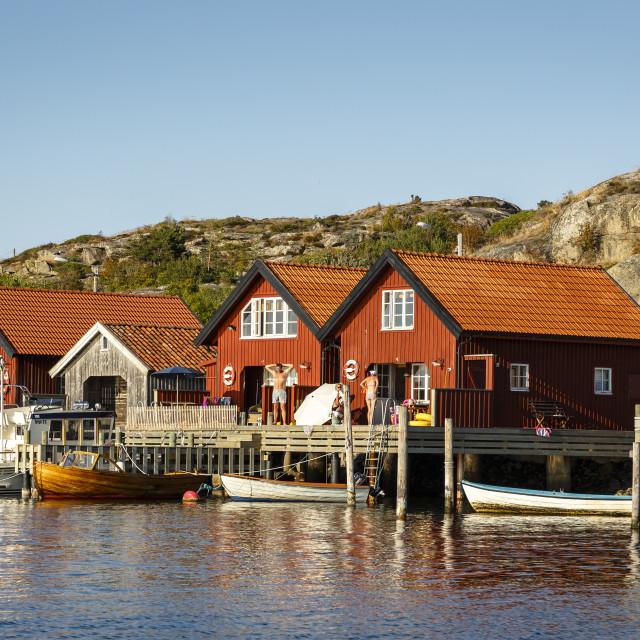 """Timber houses, Grebbestad, Bohuslan region, west coast, Sweden, Scandinavia,..."" stock image"