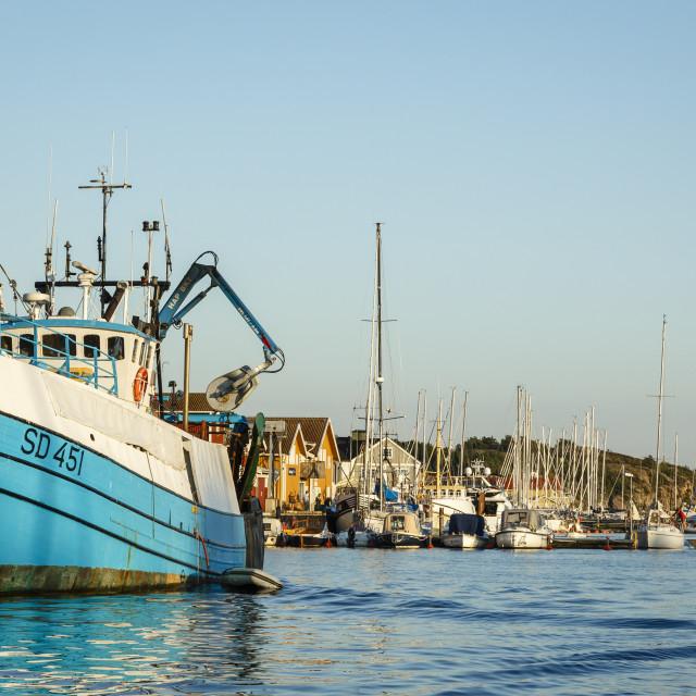 """View over the port, Grebbestad, Bohuslan region, west coast, Sweden,..."" stock image"