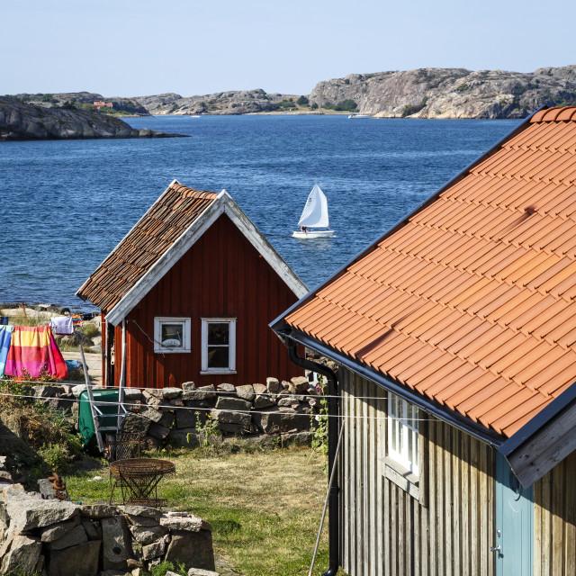 """Timber houses in Fjallbacka, Bohuslan region, west coast, Sweden,..."" stock image"
