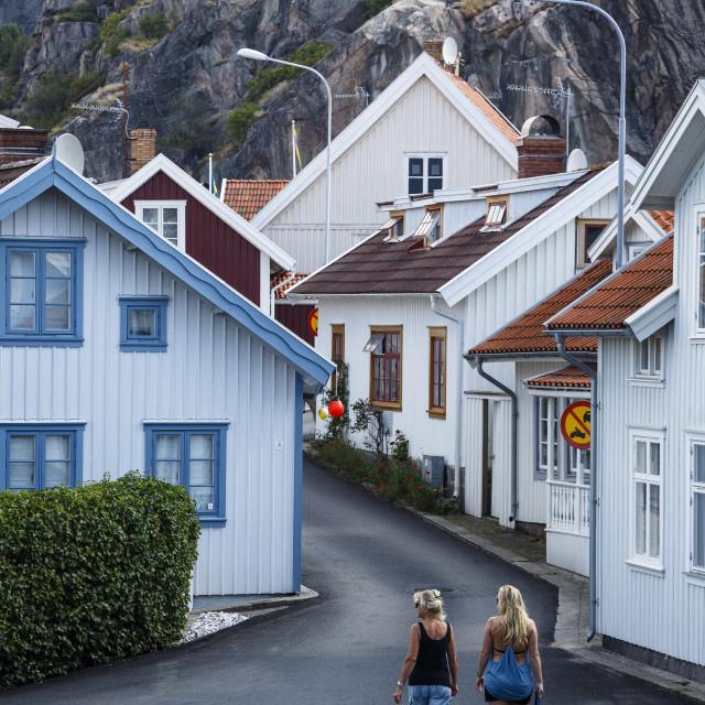 """""""Street scene in Fjallbacka, Bohuslan region, west coast, Sweden, Scandinavia,..."""" stock image"""