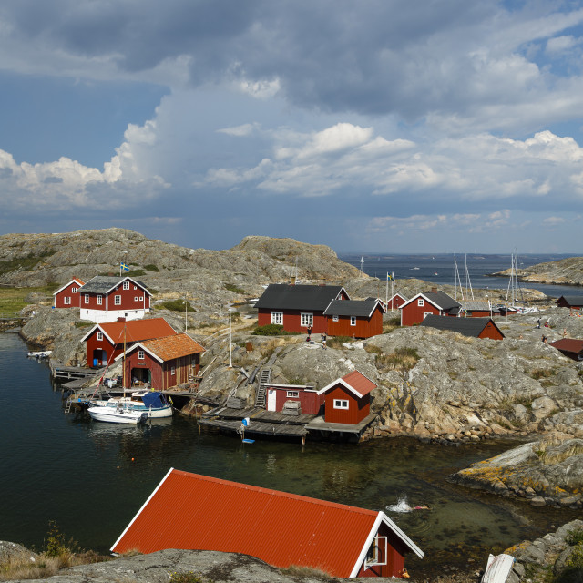 """Timber houses, Vaderoarna (The Weather Islands) archipelago, Bohuslan region,..."" stock image"
