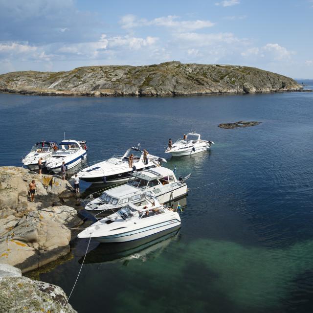 """Yachts at the Vaderoarna (The Weather Islands) archipelago, Bohuslan region,..."" stock image"