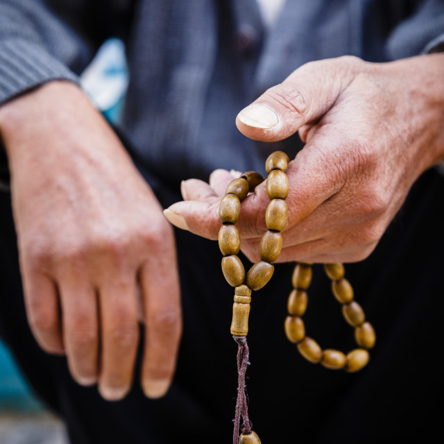 """""""Hands holding worry beads, Bethlehem, West Bank, Palestine territories,..."""" stock image"""