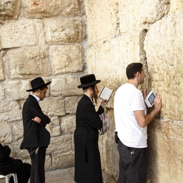 """""""Orthodox Jewish people praying at the Western Wall (Wailing Wall), Jerusalem,..."""" stock image"""