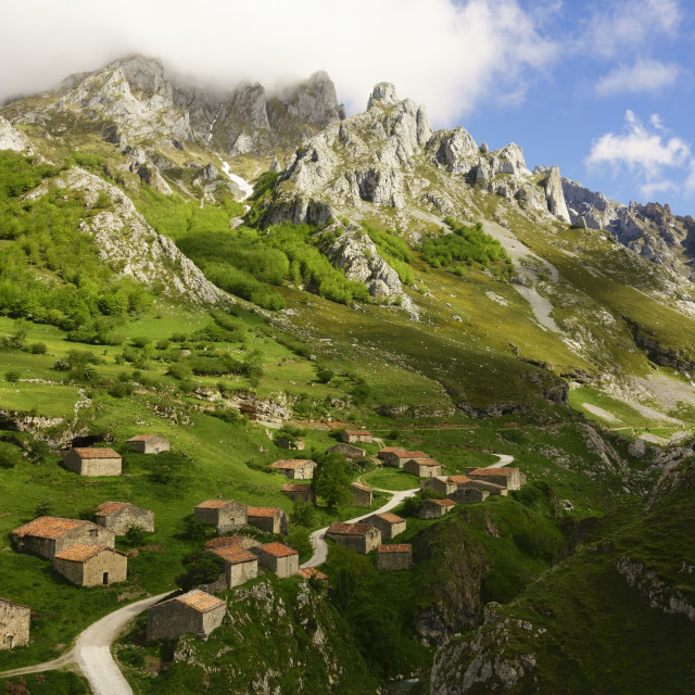 """""""Old farmhouses near Sotres, Picos de Europa, Parque Nacional de los Picos de..."""" stock image"""