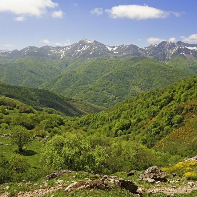 """""""Fuente De, Picos de Europa, Parque Nacional de los Picos de Europa, Asturias,..."""" stock image"""
