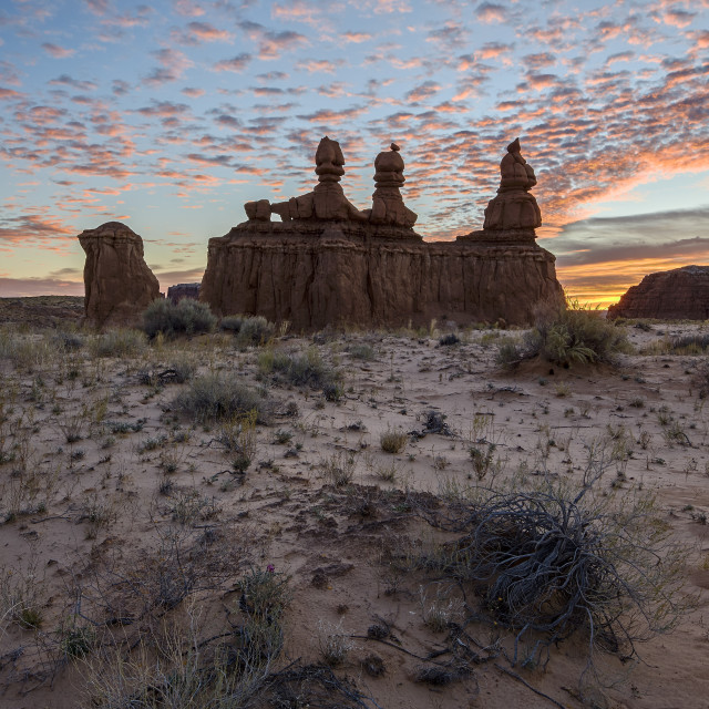 """The Three Judges at sunrise, Goblin Valley State Park, Utah, United States of..."" stock image"