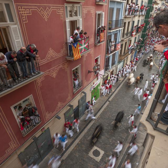 """Running of the Bulls, Festival of San Fermin, Pamplona, Navarra, Spain, Europe"" stock image"
