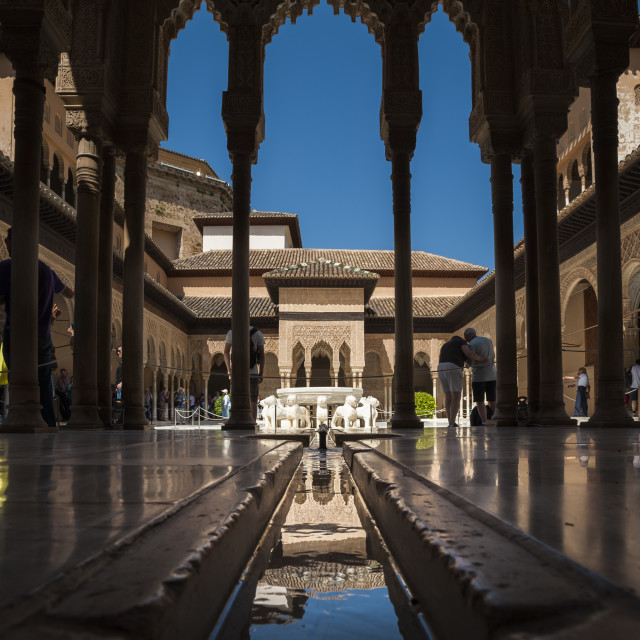 """""""Court of the Lions, Alhambra, UNESCO World Heritage Site, Granada, Province..."""" stock image"""