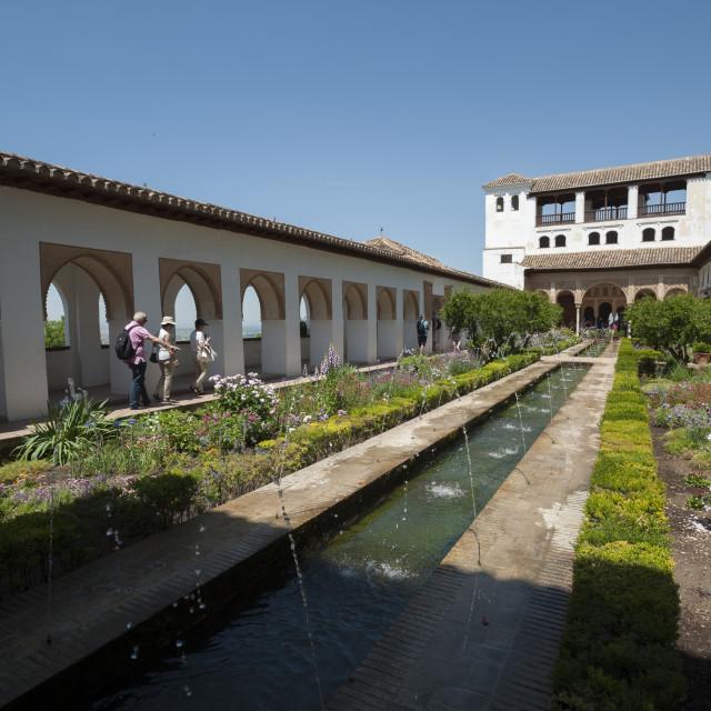 """Generalife, Alhambra, UNESCO World Heritage Site, Granada, Province of..."" stock image"