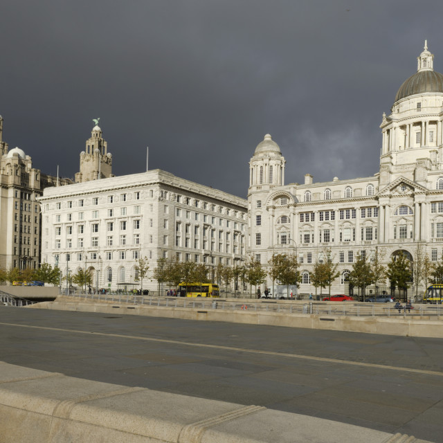 """The Three Graces Buildings, (The Royal Liver Building, The Cunard Building..."" stock image"