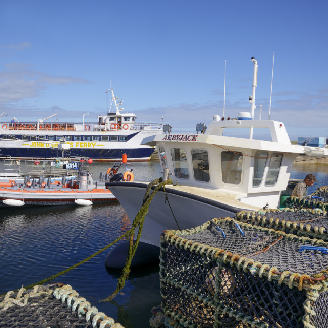 """""""Crab pots and boats in the harbour, John O'Groats, Caithness, Highland..."""" stock image"""