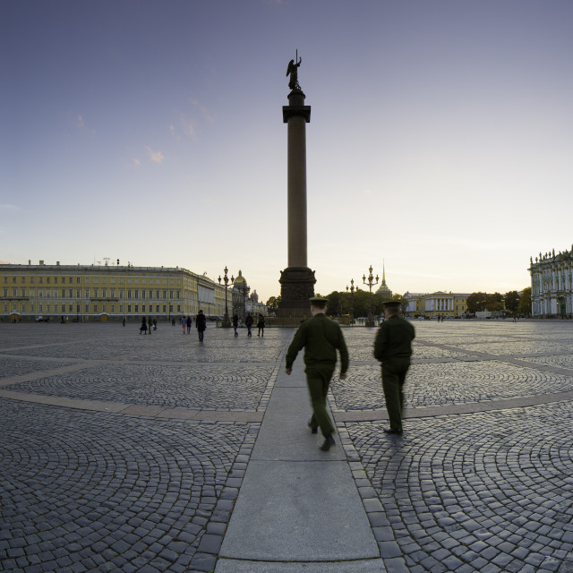 """Palace Square, Alexander Column and the Hermitage, Winter Palace, UNESCO..."" stock image"