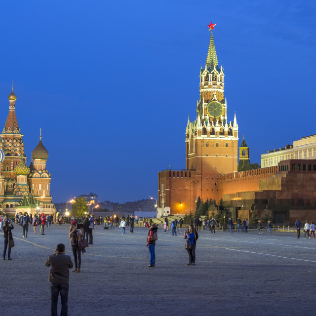 """St. Basils Cathedral and the Kremlin in Red Square, UNESCO World Heritage..."" stock image"
