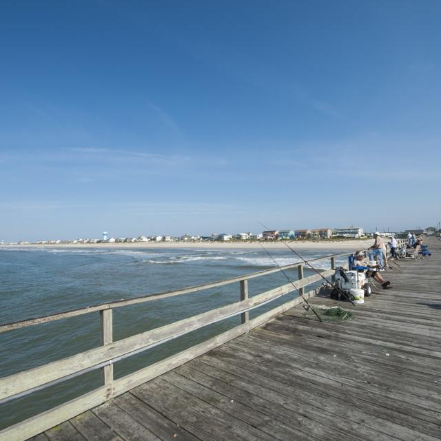 """Oceanana Fishing Pier, Atlantic Beach, Outer Banks, North Carolina, United..."" stock image"