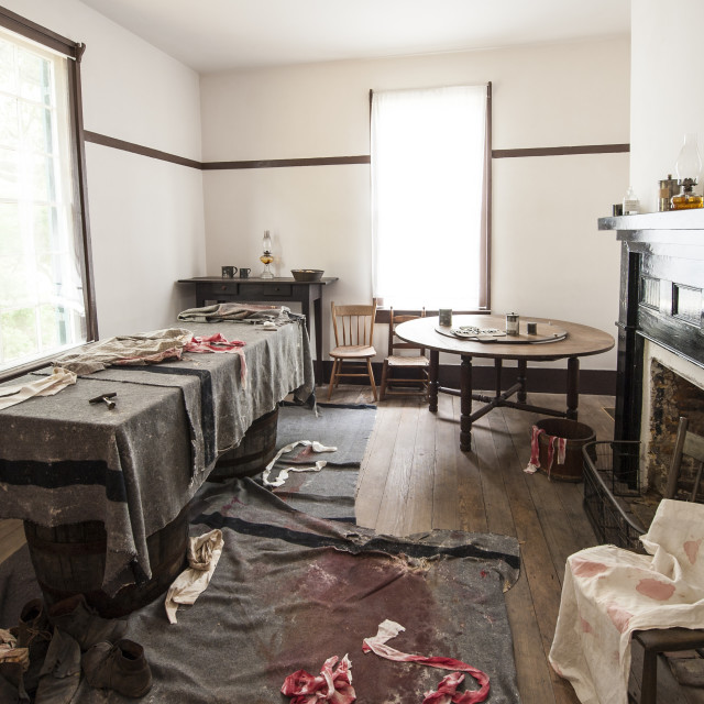 """The infirmary in John Harper farmhouse at Bentonville Battlefield State..."" stock image"