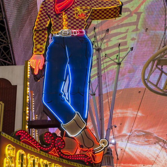 """Vegas Vic Cowboy neon sign, Fremont Experience, Las Vegas, Nevada, United..."" stock image"