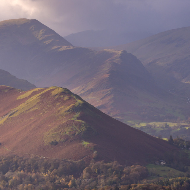 """""""Catbells mountain and the Newlands Valley in autumn, Lake District Natoinal..."""" stock image"""