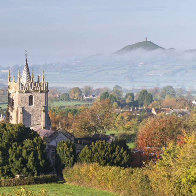 """""""Glastonbury Tor and West Pennard Church on a misty autumn morning, Somerset,..."""" stock image"""
