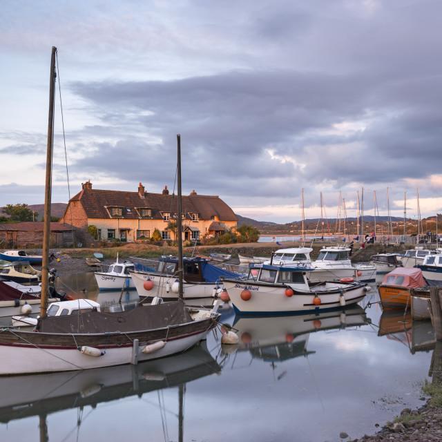 """""""Boats moored in Porlock Weir Harbour in summer, Exmoor, Somerset, England,..."""" stock image"""