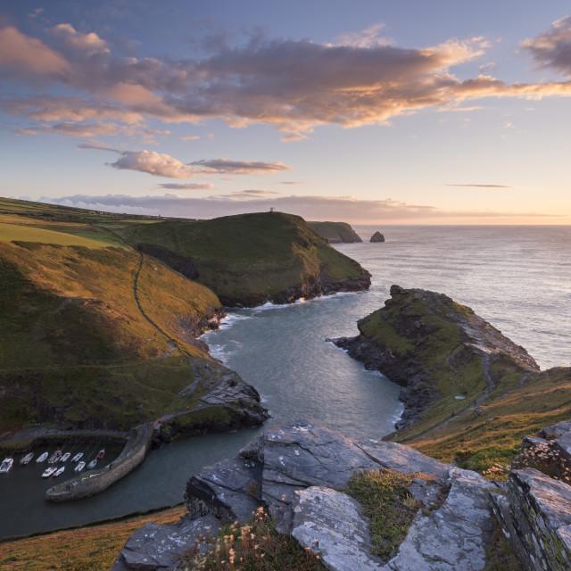 """Boscastle Harbour at sunset, Cornwall, England, United Kingdom, Europe"" stock image"