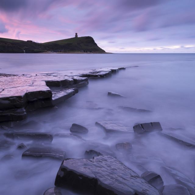 """Kimmeridge Bay at dawn, Jurassic Coast, UNESCO World Heritage Site, Dorset,..."" stock image"