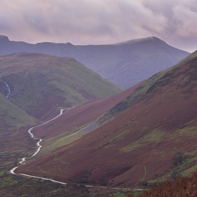 """""""The Newlands Pass, a mountain road connecting the Newlands Valley with..."""" stock image"""