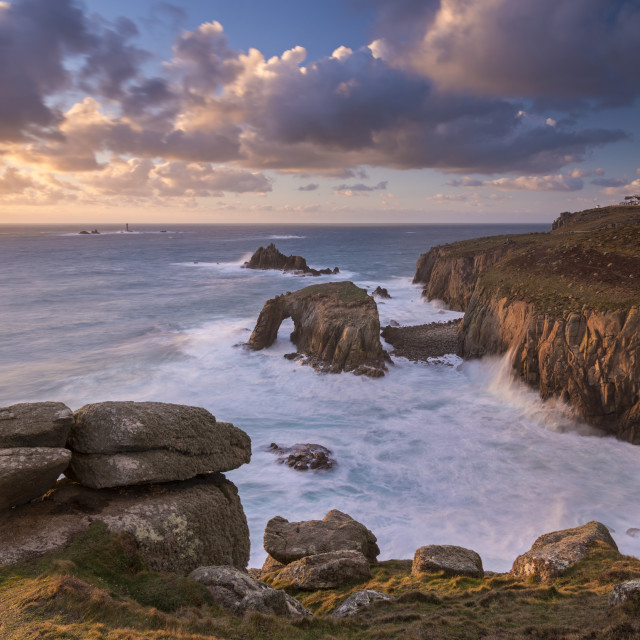 """Dramatic coastal scenery in winter at Land's End in Cornwall, England, United..."" stock image"