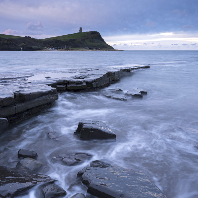 """Stormy conditions at Kimmeridge Bay on the Jurassic Coast, UNESCO World..."" stock image"