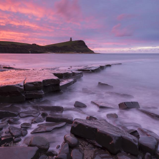 """""""Spectacular sunrise over Kimmeridge Bay on the Jurassic Coast, UNESCO World..."""" stock image"""