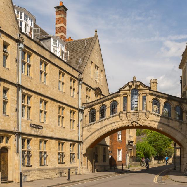 """Hertford Bridge (Bridge of Sighs) forming part of Hertford College in Oxford,..."" stock image"