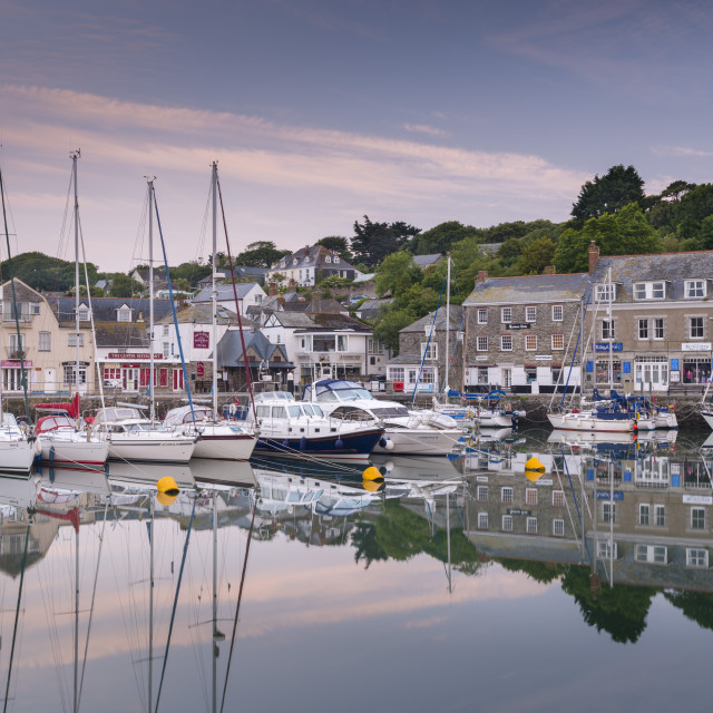 """""""Dawn at Padstow harbour on the North Cornish coast, Cornwall, England. Summer..."""" stock image"""