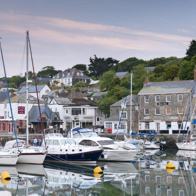 """""""Yachts moored in Padstow harbour at dawn, Cornwall, England. Spring (June) 2013."""" stock image"""