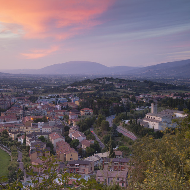 """View of Church of St. Ponziano and Spoleto at sunset, Spoleto, Umbria, Italy,..."" stock image"