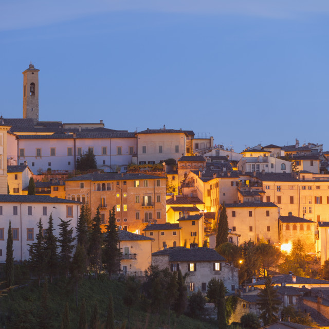 """View of Spoleto at dusk, Umbria, Italy, Europe"" stock image"