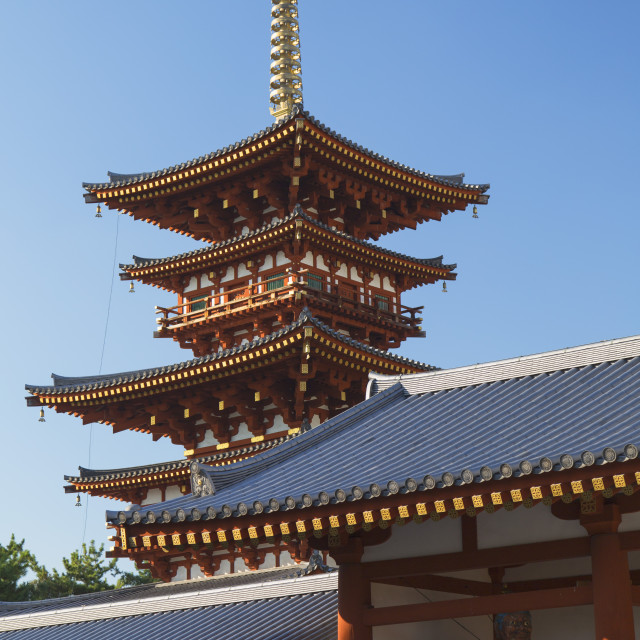 """West Pagoda at Yakushiji Temple, UNESCO World Heritage Site, Nara, Kansai,..."" stock image"